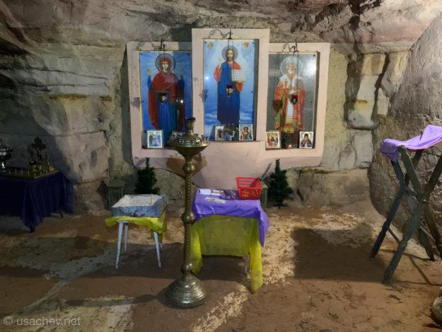 Подземная часовня Николая Чудотворца (пещера Левобережная - Саблино)