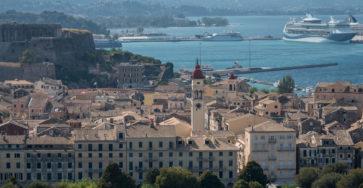 Вид на Керкиру со смотровой площадки старой крепости
